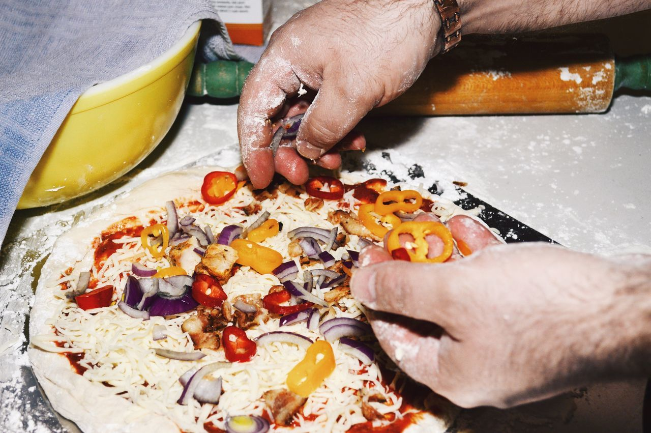 Making homemade pizza Human Hand Cooking Pizza Food And Drink Holding Human Body Part Preparation  High Angle View Making Freshness Food One Person Preparing Food Indoors  Working Hands Close-up Healthy Eating Men Making A Pizza Pizza Time Dough Homemade Food Homemade Cooking Pizza Pizzaria