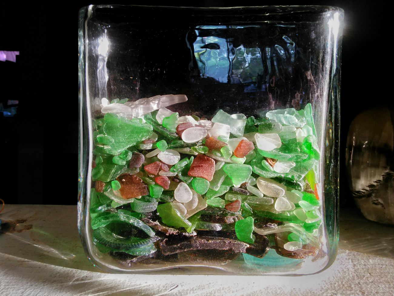 My Collection of Sea Glass and Beach Glass . This is all The Real Deal  , collected On The Shore of Beaches everwhere. Some of this Glass must have been in the water for decades, getting Weathered and its sharp edges Eroded, its surfaces Etched by friction in the Sand . Of course you can get Faux  Beachglass at any arts and crafts store, just know that it's been manufactured, and isn't nearly as characteristic of the genuine article. Edges are sharper, the Etched Glass is not as pronounced.... finding a well worn piece of glass on the beach is as rewarding as finding a gem....well, almost, seeing how I've yet to find a gem. When I do, I will come back and retract this statement. :^D Being A Beach Bum Lifes A Beach Shoreline Sand & Sea Beachcombing Beachcollection Beachcombers Beached Collections Object Collectors Item Broken Glass