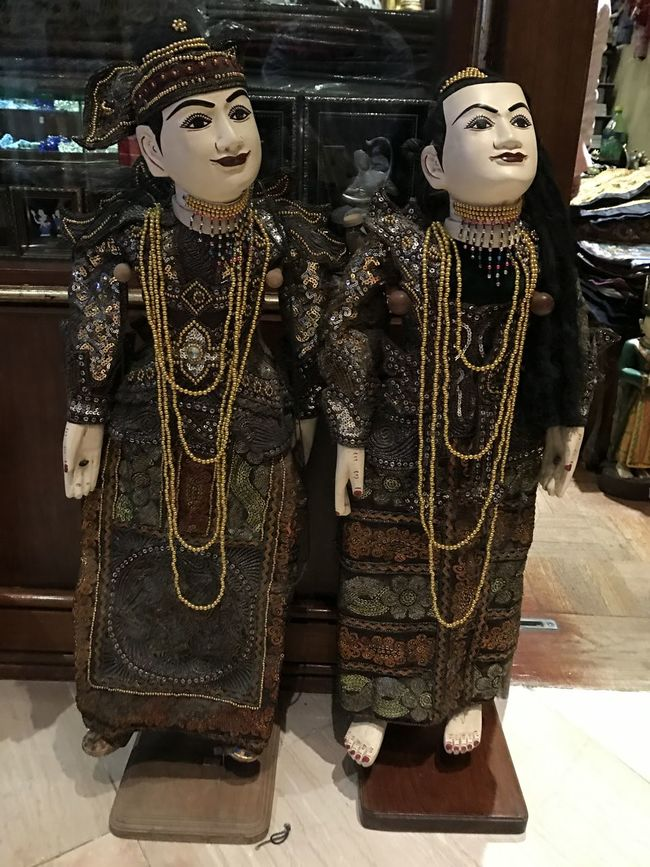 Two Puppets Black Colour High Angle View Looking Up Mandalay Mandalay Hill Myanmar Puppet Theatre Puppets With A String Tradition Traditional Clothing Traditional Culture Traditional Festival