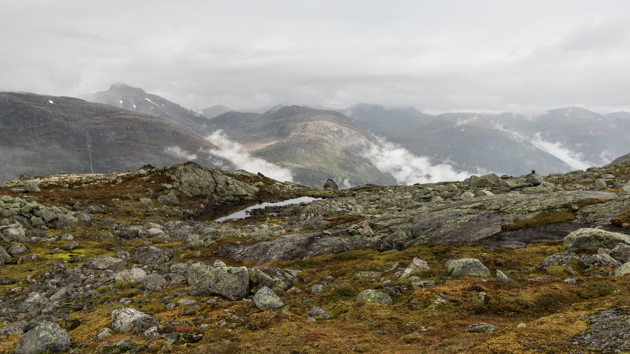 hiking in Norway Hiking Loen Loen Skylift Norway Adventure Fog Mountain Nature Fog Beauty In Nature Scenics Landscape No People Outdoors Day Mountain Range Cold Temperature Sky