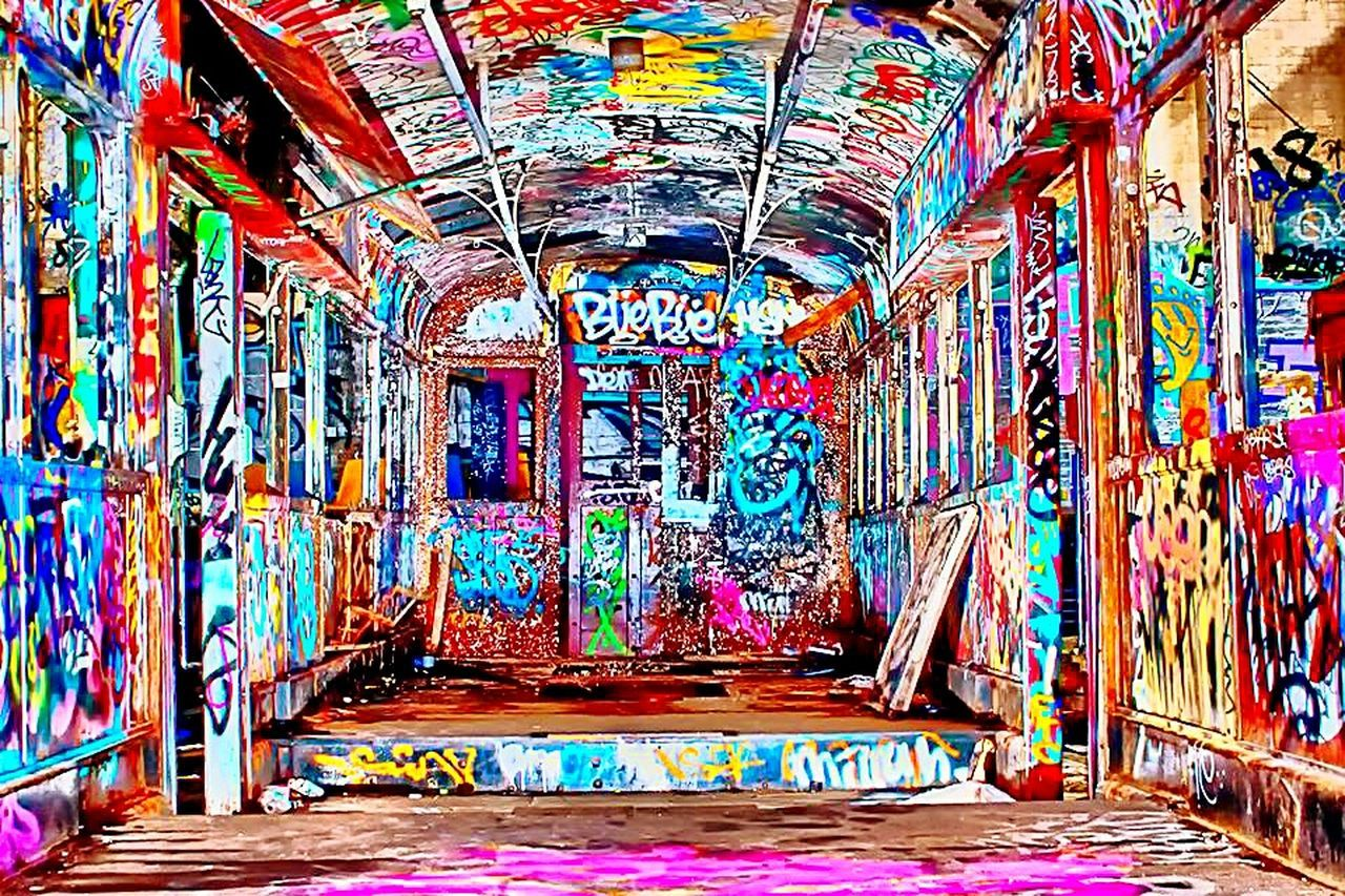 multi colored, graffiti, indoors, architecture, no people, built structure, home improvement, day, modern