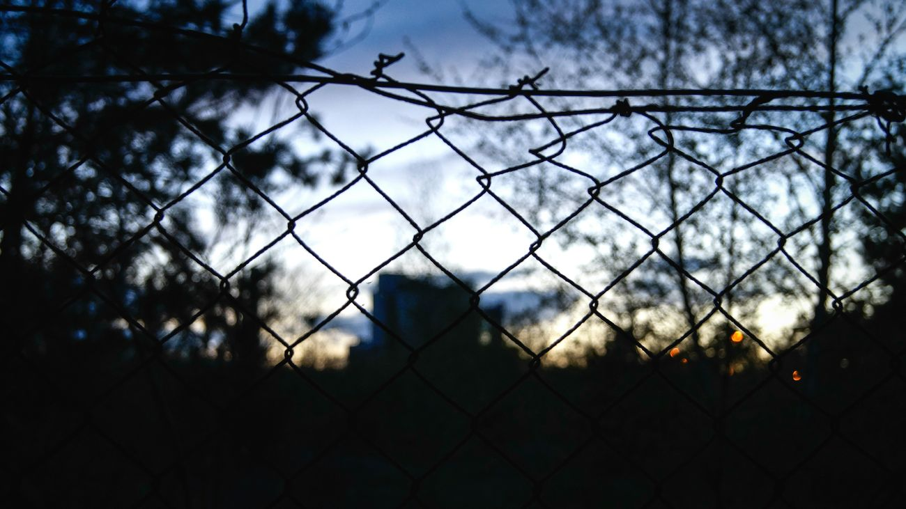 Security Fence Protection Sky Chainlink Fence Silhouette Cloud - Sky No People Outdoors Tree Nature Landscape Capturing Freedom Blur VSCO Glitch Wanderlust City Spring Growth Urban Sunset Focus Focus Object Resist