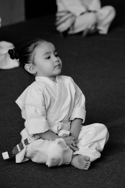 To become the best little ninja, one must have great focus! Ninjababy Karateclass Littleninja Karategirl Child KarateKid Ninja In Training Katelynemily Learning Focus Concentrate Close-up One Person Real People Girl Power Childhood Black And White Friday