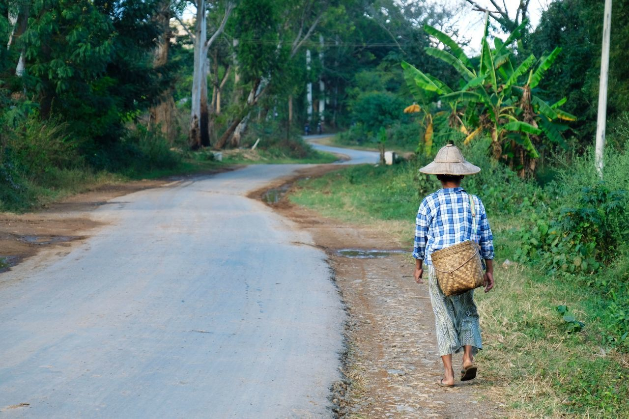 Rear View One Person Full Length Footpath Walking Real People Standing Tree Outdoors Nature Working Woman One Woman Only People Lifestyles Road Hat Culture Travel Portrait Day Popular Photos Check This Out in Inle Lake , Myanmar
