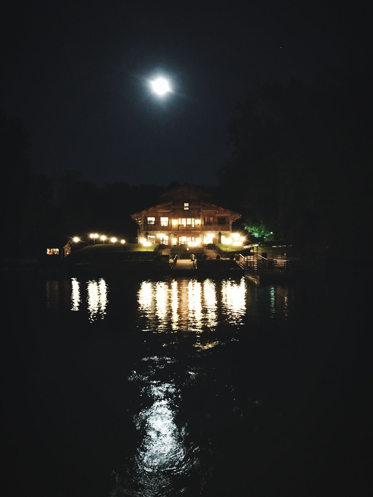 Night Illuminated Water Moon Sky Built Structure Reflection Architecture No People Outdoors Nature Building Exterior Beauty In Nature