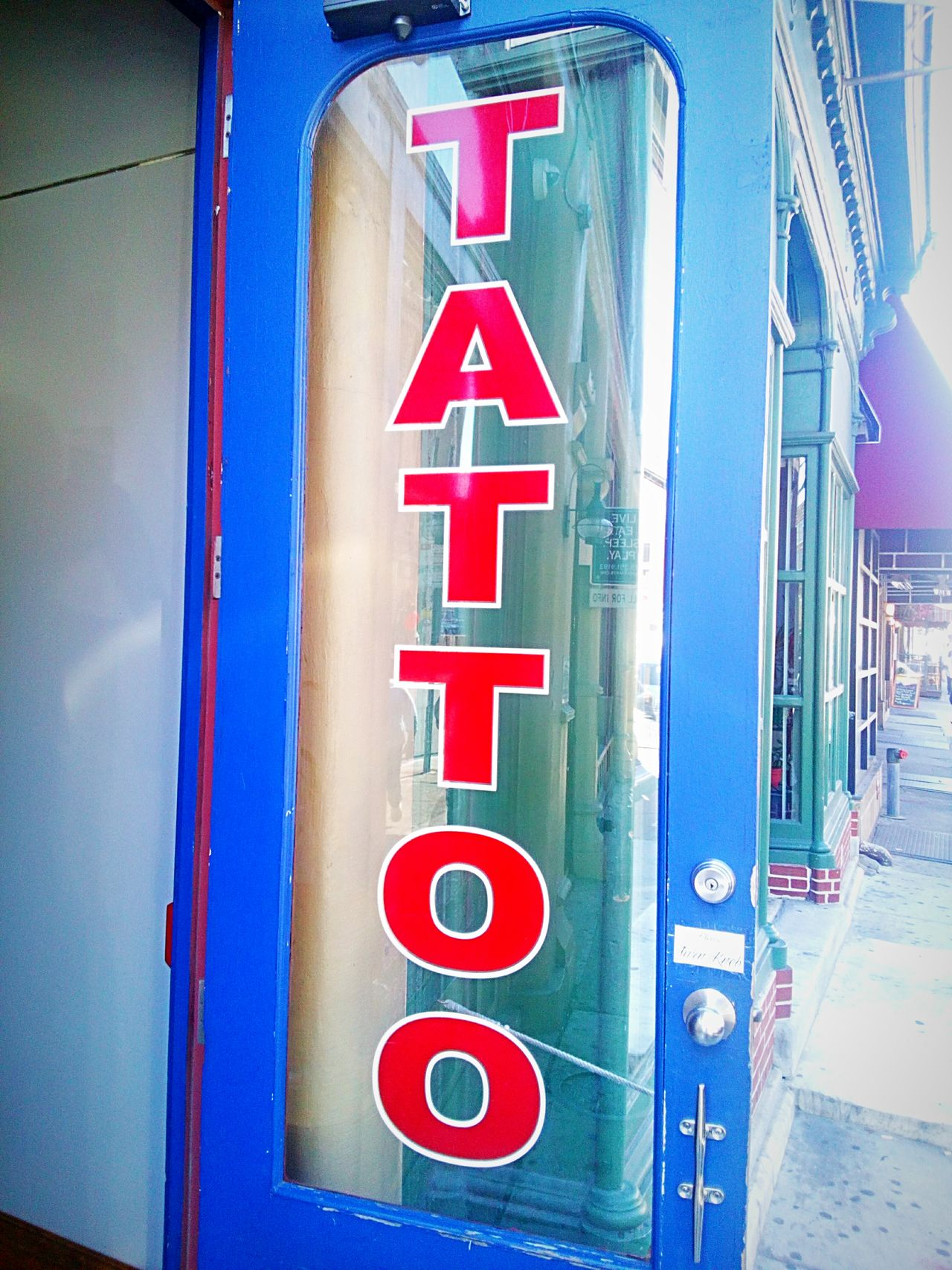 Communication Text Close-up Blue Multi Colored Tattoo Shop Tattoo Sign