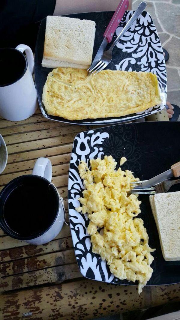 The best breakfast moment Breakfast With Love ♡ Best Moment Egg Omelette Scrambledeggs Lombok Coffee Tea