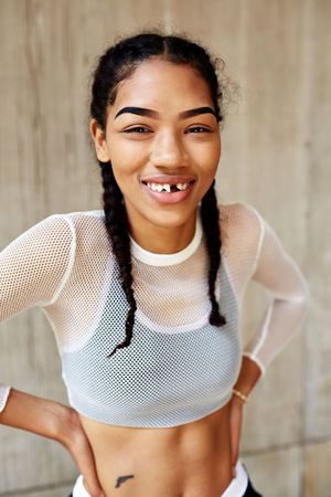 Portrait Looking At Camera Real People Smiling Young Women Young Adult Happiness Beautiful Woman Cheerful teeth People Teeth Missing Teeth One Person Standing