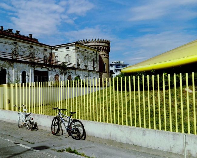 Yellow Fence Colors Taking Photos Architecture Architettura Abandoned Abandoned Places Abandoned Buildings Bikes Vanishing Point Punto Di Fuga Geometric Shapes Cityscapes
