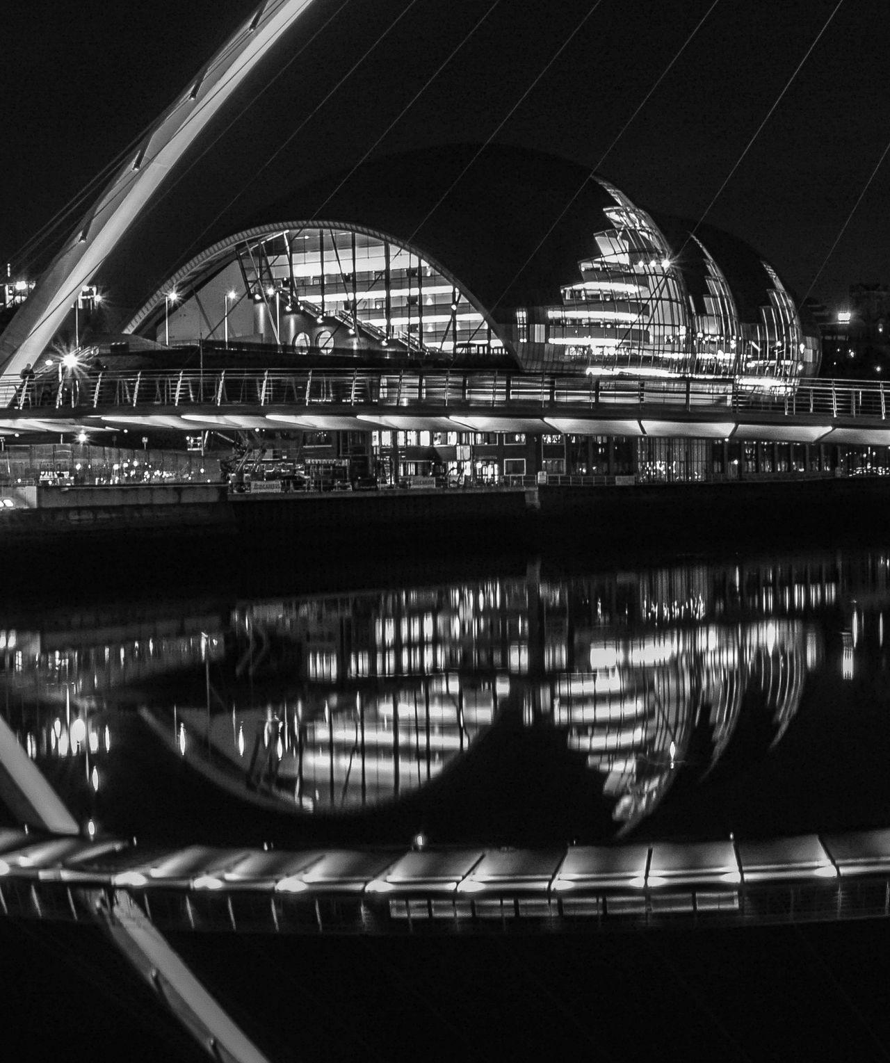 Quayside reflections Gateshead Iconic Buildings Long Exposure Millenium Bridge Mono Newcastle Night Scene Serene The Sage First Eyeem Photo