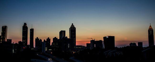 Silhouette of downtown Atlanta Sunset Architecture Skyline Cityscape Silhouette Atlanta Georgia Cityscapes Fine Art Photography