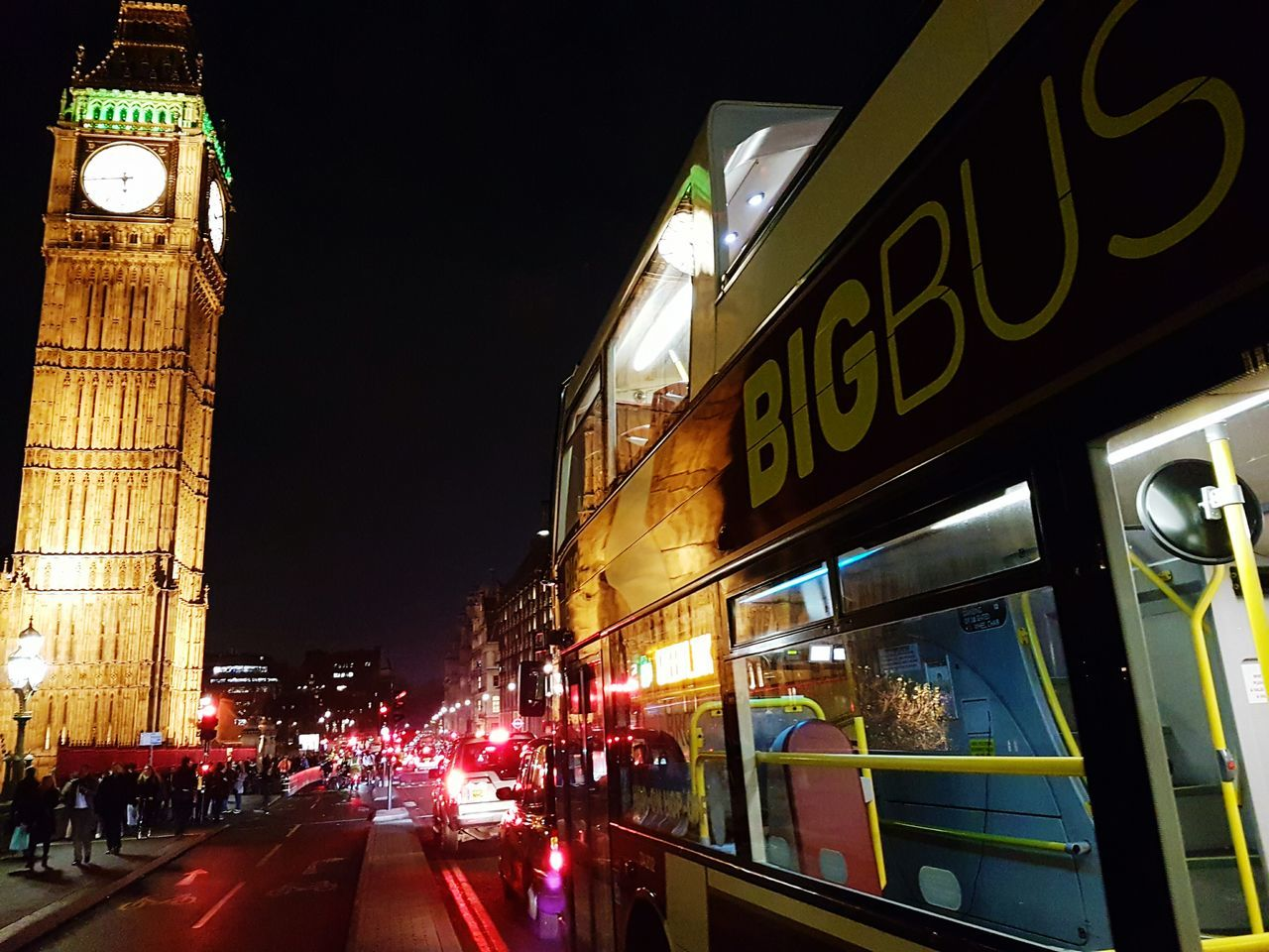 Big Ben or Big Bus? Illuminated City Travel Destinations Night Travel Tourism Clock Tower Transportation Architecture Nightlife Outdoors London Big Ben Bus