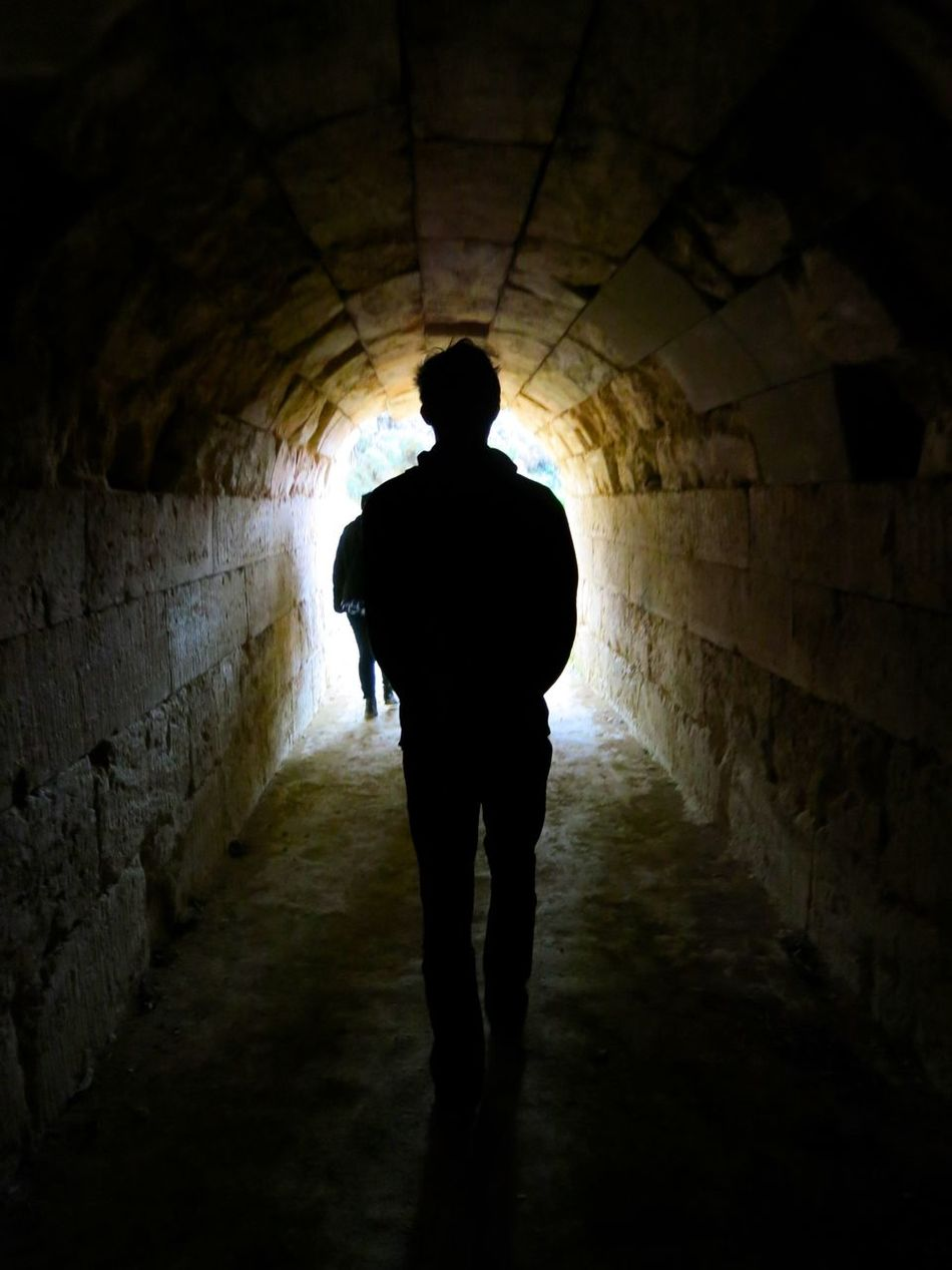 Light at the end of the tunnel Ancient Ancient Civilization Greece Indoors  Light At The End Of The Tunnel Nemea One Person People Silhouette Tunnel