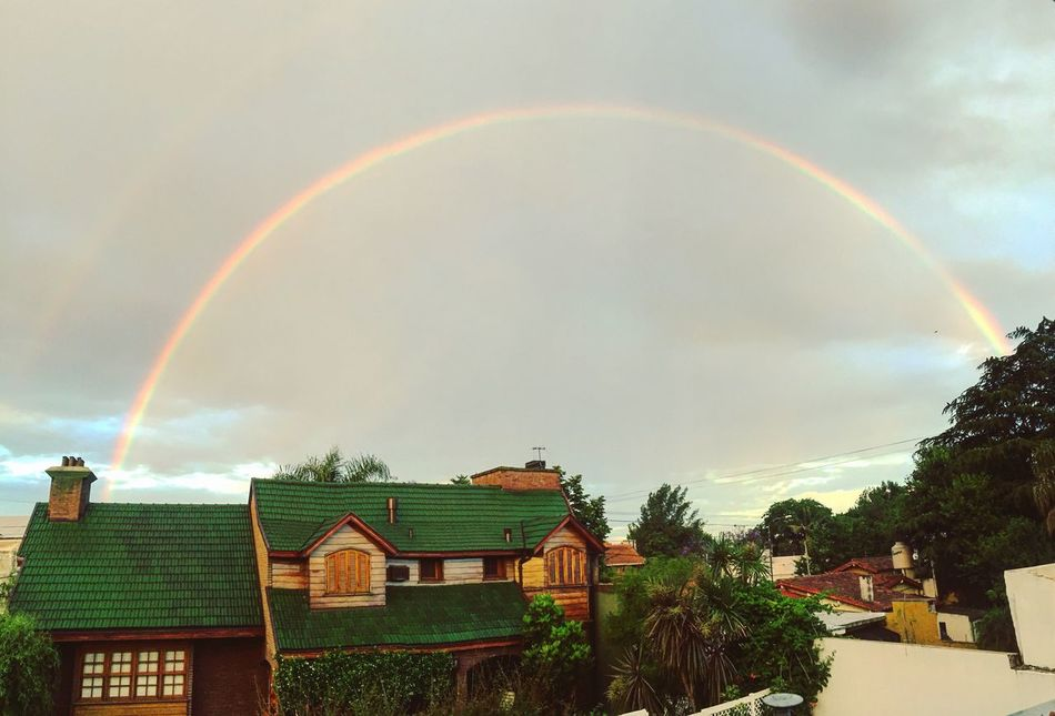 Rainbow Building Exterior Built Structure Architecture Sky No People House Double Rainbow Tree Cloud - Sky Outdoors Day Beauty In Nature Nature Scenics City