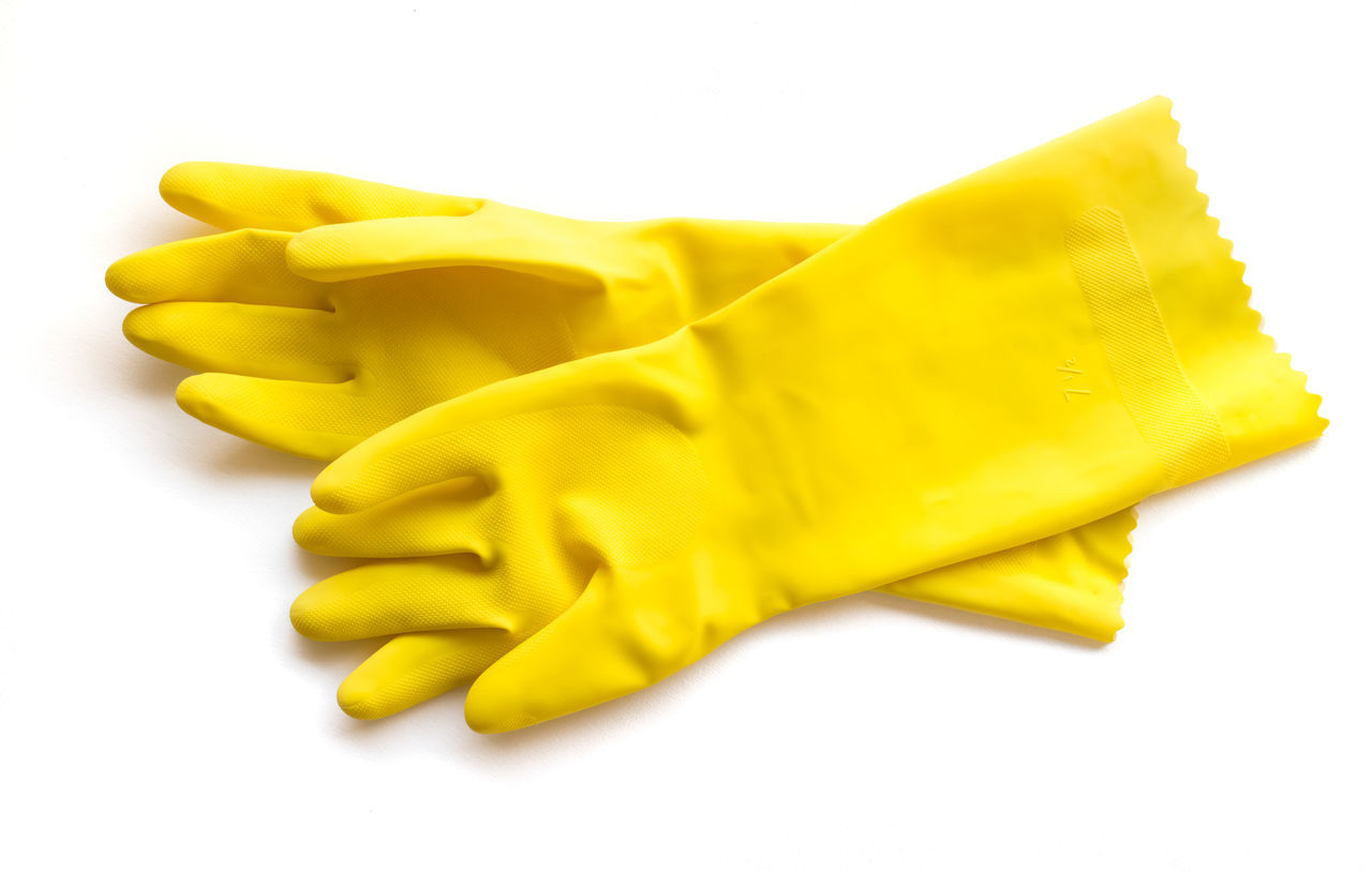 Yellow rubber gloves for cleaning on white background, workhouse concept Cleaning Concert Food And Drink Gloves Rubber White Background Workhouse Yellow Yellow Flower