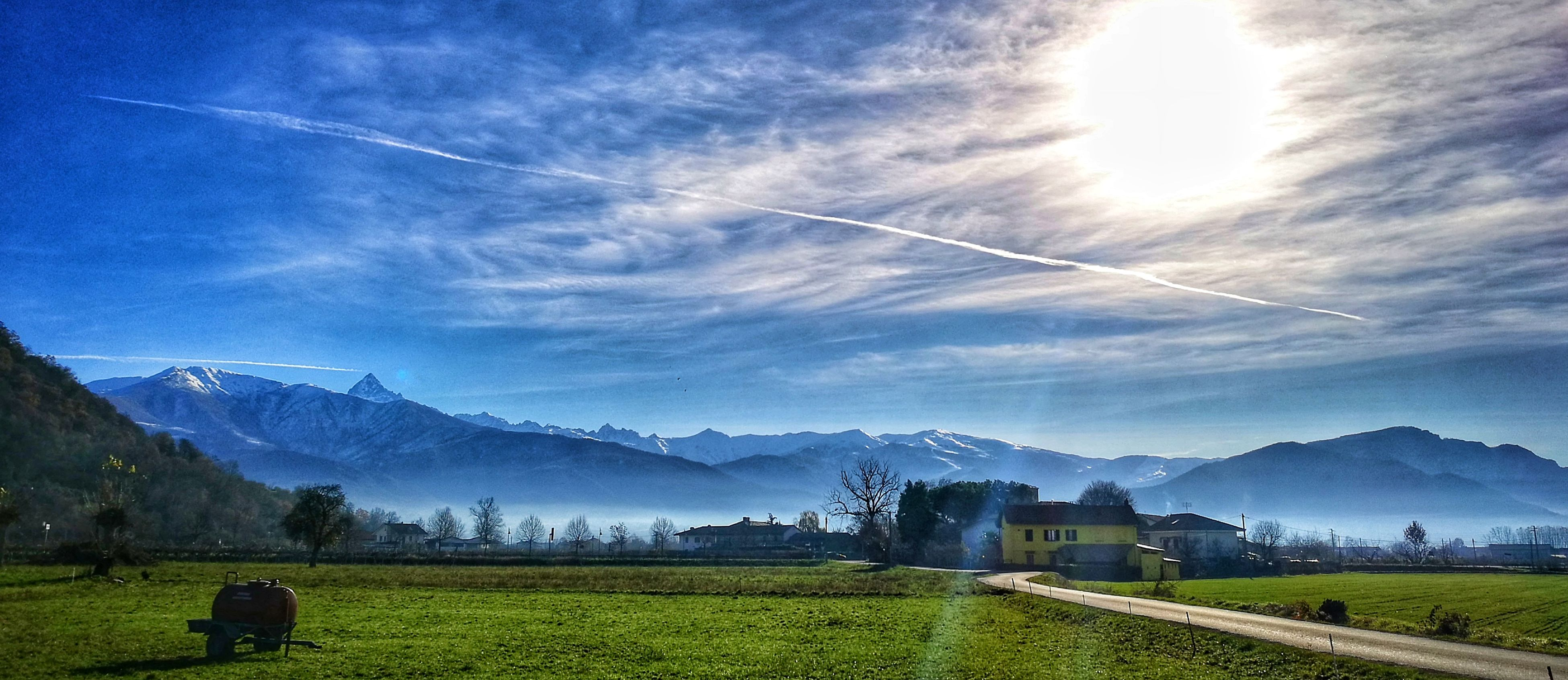 sky, blue, landscape, grass, nature, mountain, scenics, cloud - sky, tree, beauty in nature, outdoors, no people, tranquil scene, night, architecture