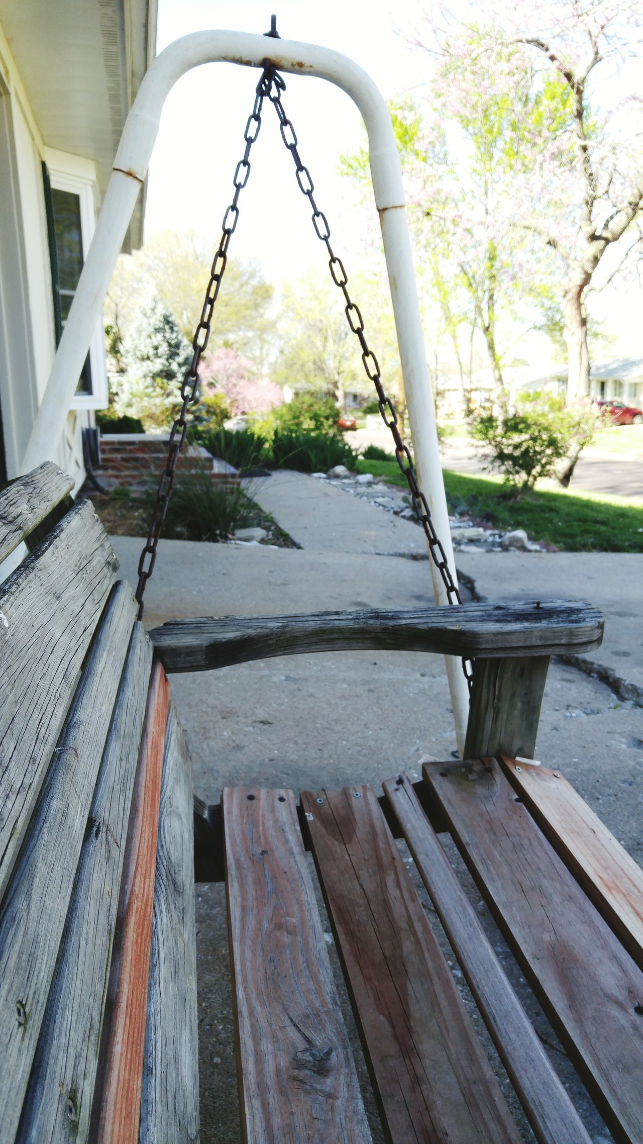 Outside Springtime Swing Porchswing Lawnfurniture Weathered