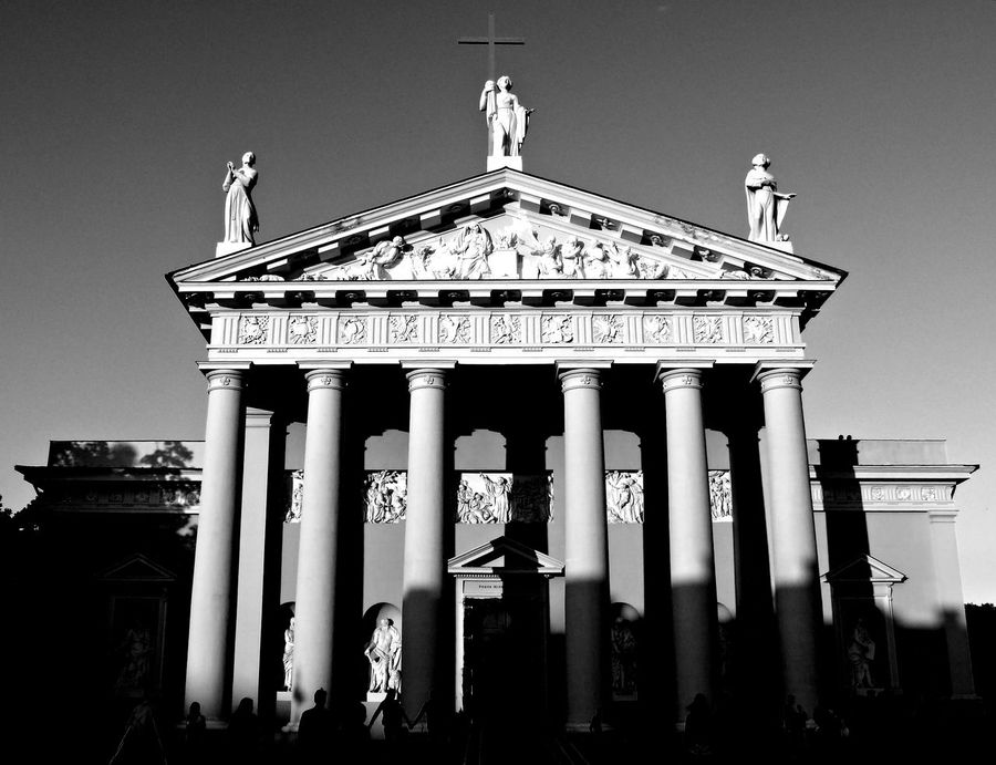 Architectural Column Architecture Art Black And White Brandenburg Gate Built Structure Cathedral Basilica Column Day Exploring Vilnius Façade Famous Place History Low Angle View Monument No People Ornate Outdoors Religion Sky Spirituality Tourism Travel Destinations Welcome To Black Art Is Everywhere Black And White Friday