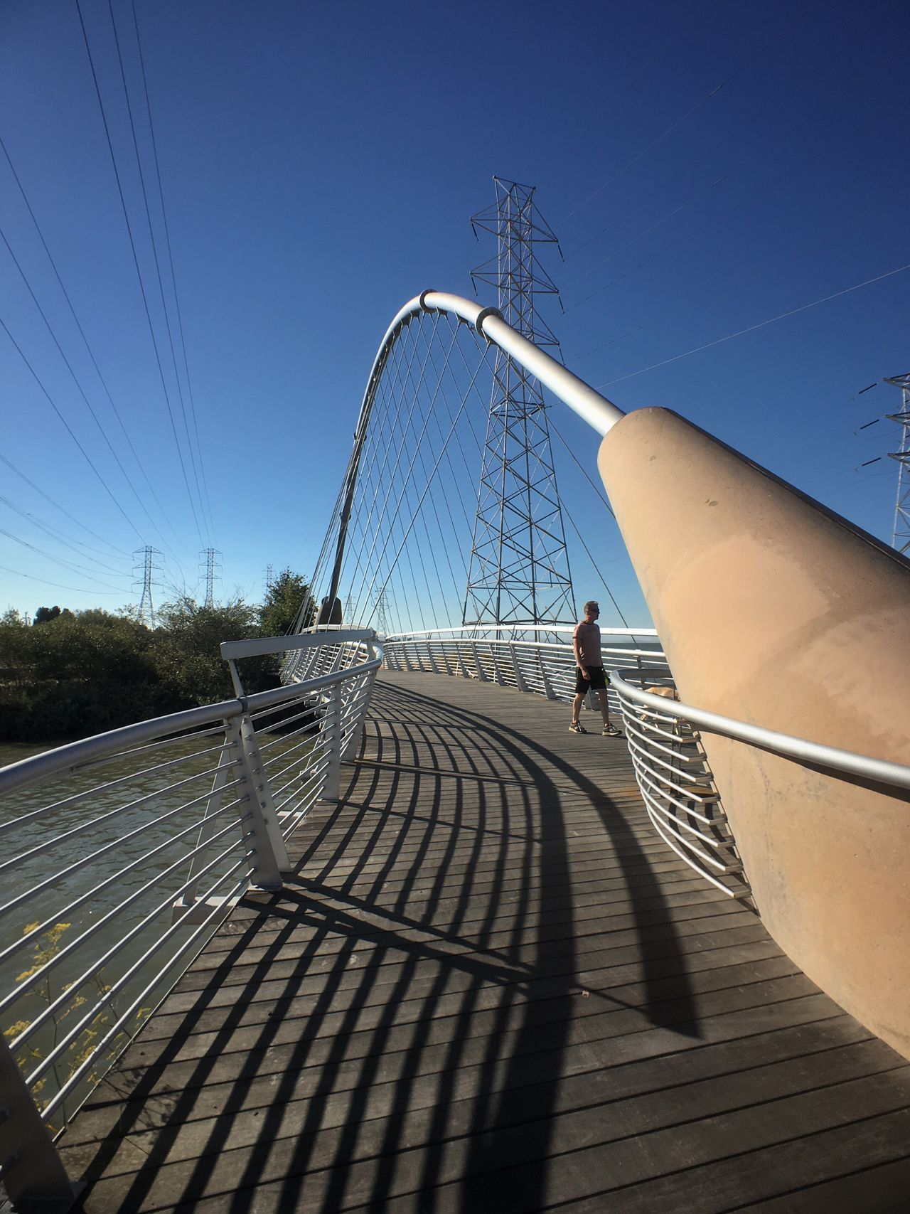 Hidden Gems  Bridge Jogging Shadows Electricity Tower Blue Sky