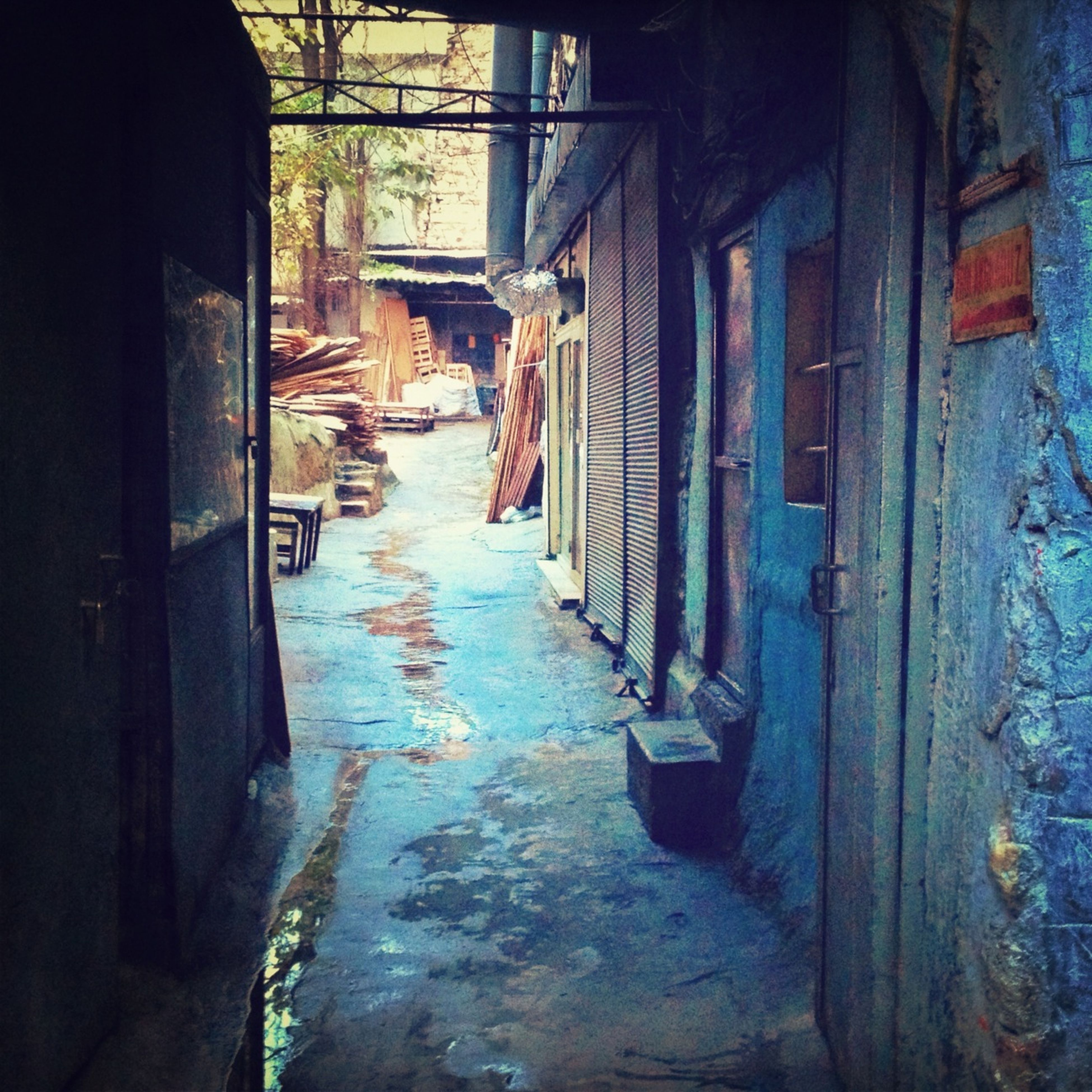 architecture, built structure, building exterior, the way forward, house, alley, residential structure, building, street, narrow, residential building, door, abandoned, walkway, diminishing perspective, wall - building feature, day, domestic animals, no people, outdoors