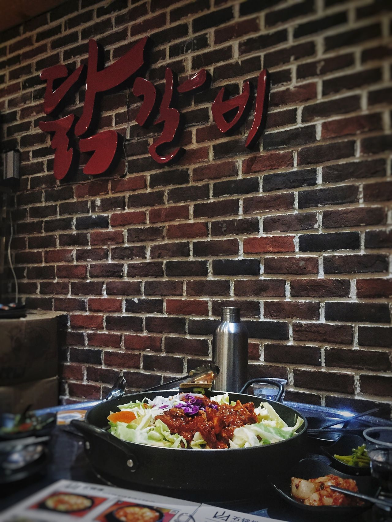 Restaurant Brick Wall Food Table Korean Food Ready-to-eat Supper Dinner Dinner Time Meal Night
