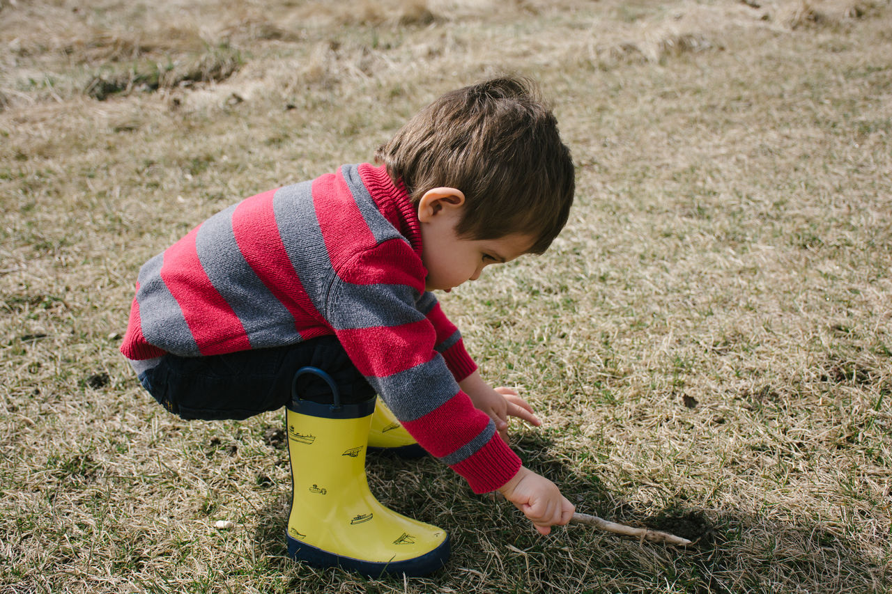 Exploring the grass Boy Casual Clothing Child Dirt Discover  Explore Nature Outdoors Park Play Rainboots Rubberboots Sweater Toddler  Wellington Boots