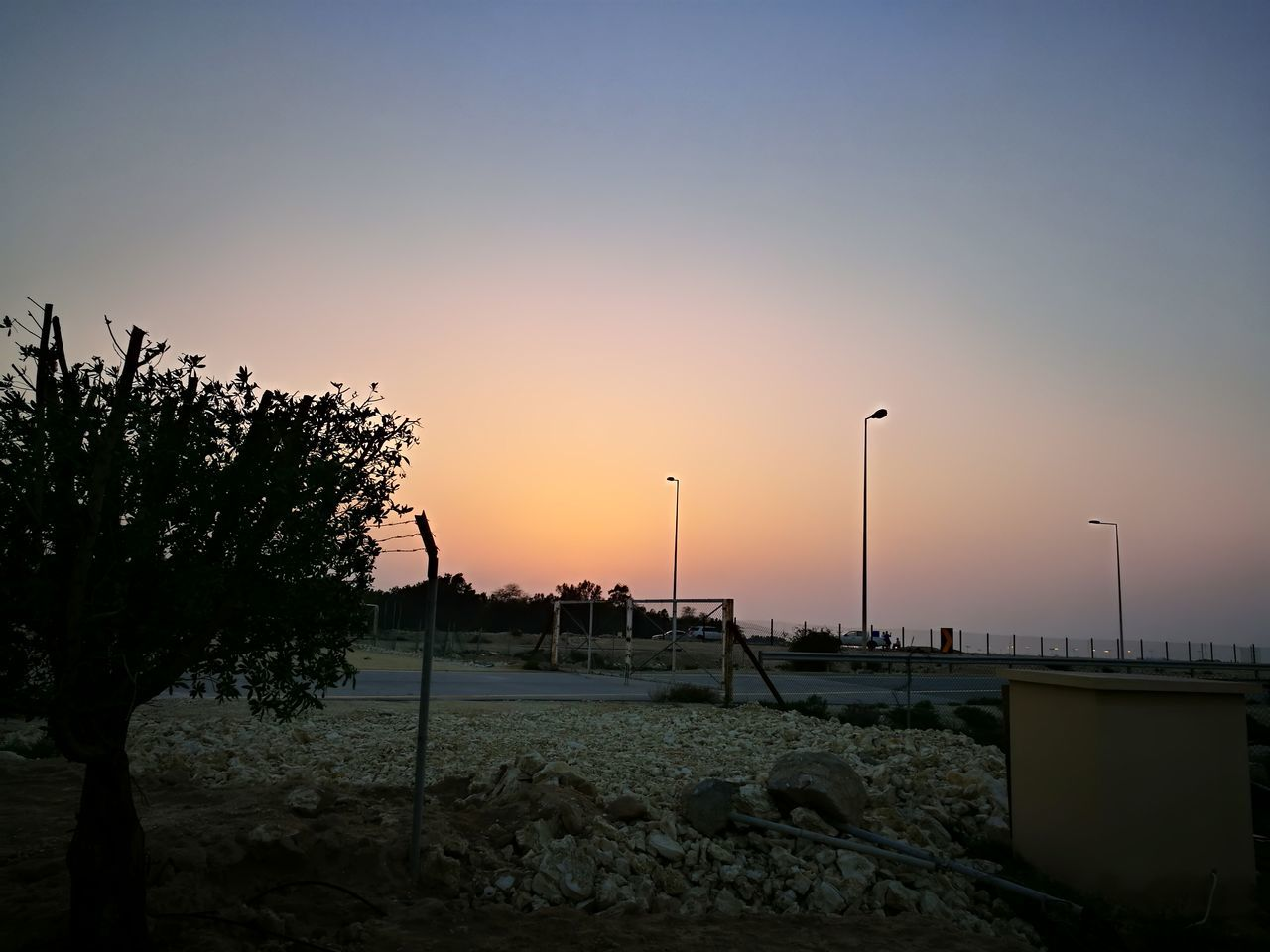 sunset, sky, nature, no people, beauty in nature, scenics, outdoors, tree, clear sky, wind turbine, day