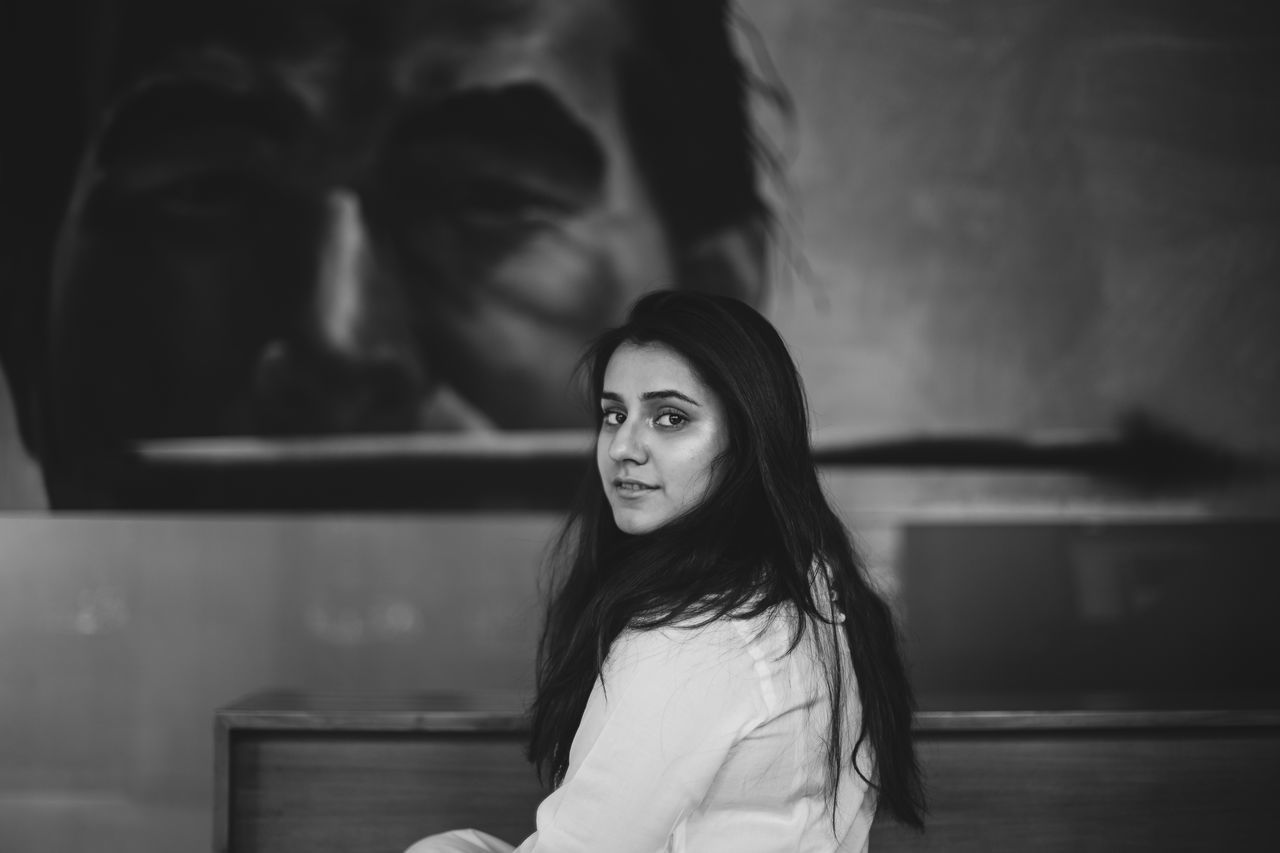 Syeda. Adult Beautiful Beautiful Woman Beauty Black And White Photography Candid Portraits Fashion Long Hair Looking At Camera One Person One Woman Only Portrait Portrait Of A Woman Women Young Adult Young Women The Portraitist - 2017 EyeEm Awards Live For The Story BYOPaper! Place Of Heart