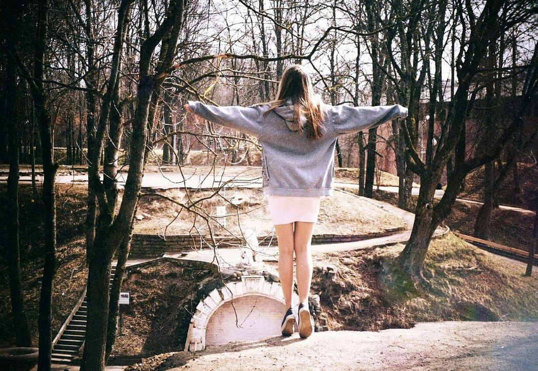 Dreaming Dream Horizontal Day Outdoors Happiness Fly Flying Wanted To Be A Bird Full Length Trees City City Life Park Central Park SmolenskLive Smolensk Russia Russian Girl Suny Autumne Autumn🍁🍁🍁 Lifestyles From The Back Lonley Girl