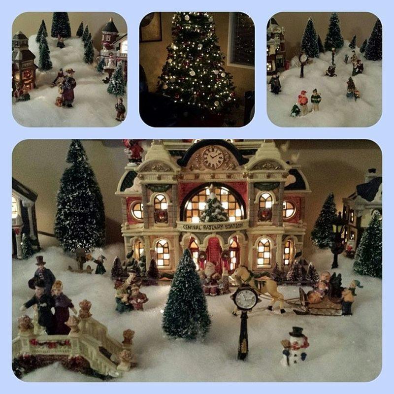 The Campos Family Christmas Village along with our wonderful looking tree! Christmas Christmasvillage Onceayear Lovetheholidays decor familytime family photooftheday tagsforlikes wishingyouamerrychristmas babyjesus
