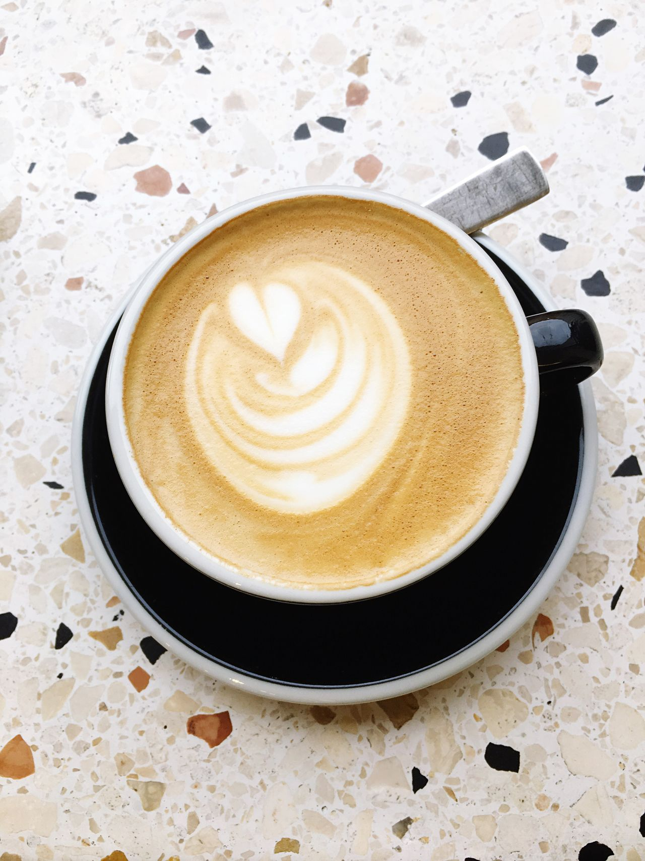 Coffee - Drink Coffee Cup Drink Food And Drink Cappuccino Refreshment Frothy Drink Froth Art Latte Saucer Table Espresso Cafe Indoors  No People High Angle View Mocha Close-up Freshness Day