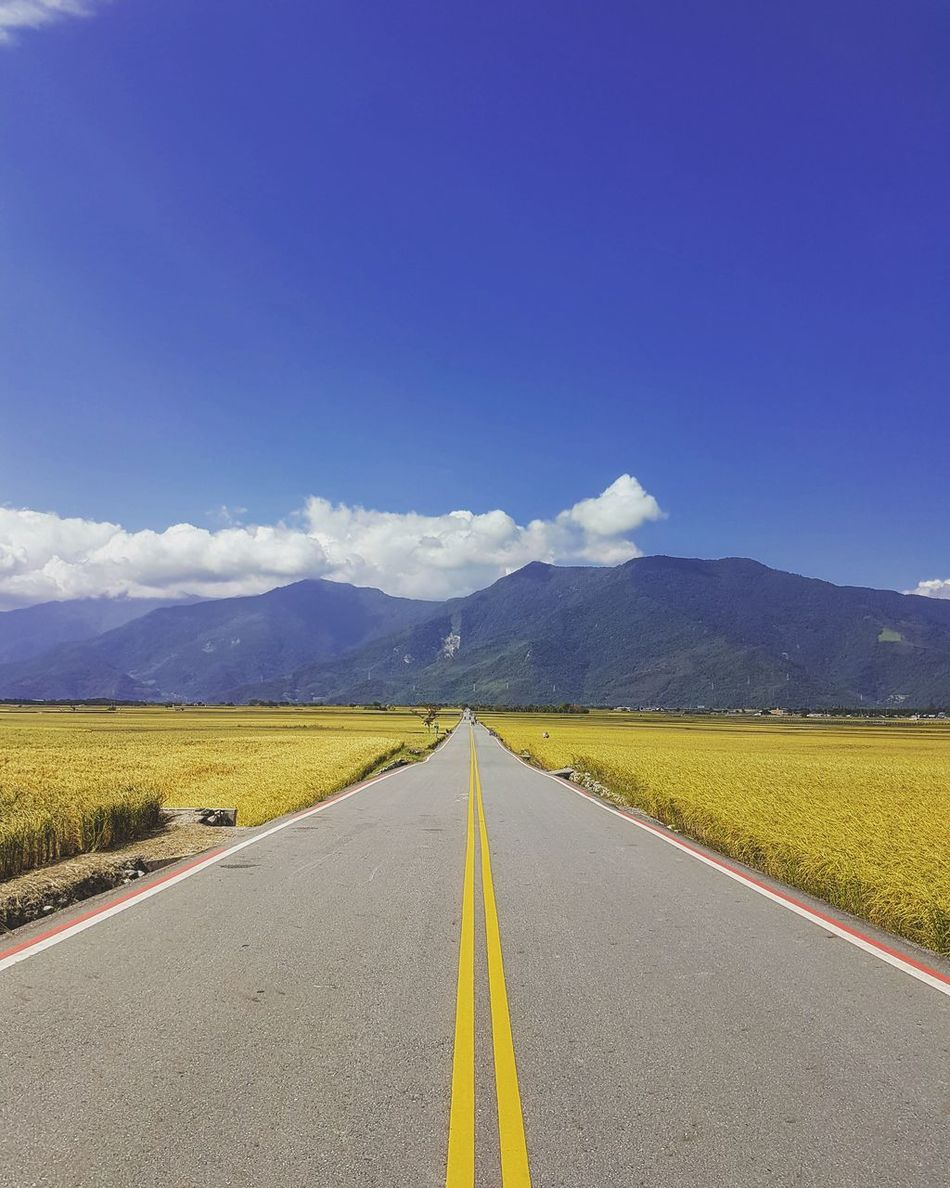 Nature Beauty In Nature Transportation Agriculture Landscape Yellow Road Scenics Sky Cloud - Sky Outdoors The Way Forward Blue Nature Taiwan Travel Photo Endless Quiet Moments Quiet Nature Photography Bolangdadao Taitung,taiwan Taitung Long Goodbye EyeEm Diversity The Secret Spaces EyeEmNewHere