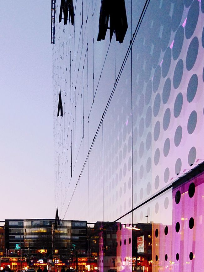 Built Structure Architecture Building Exterior City Reflection Clear Sky Office Building Power Line  City Life Modern Power Supply Outdoors Day Development No People Large Pink Color Urban Skyline Geometric Shape Reeperbahn  Sunset Silhouettes