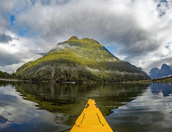 Beauty In Nature Cloud - Sky Kayak Kayaking Milford Sound Mountain New Zealand Reflection Tranquil Scene Tranquility