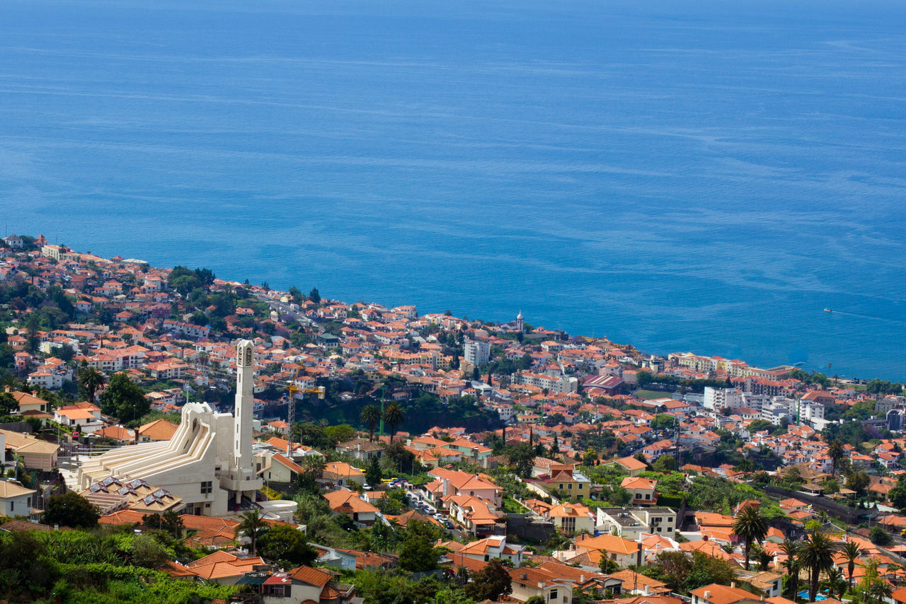 Beautiful views in Funchal, Madeira Aerial View Calm Clear Sky Composition Funchal Funchal Madeira Horizon Over Water Madeira Madeiraisland Outdoors Perspective Portugal Residential District Rock Formation Top Perspective Tourism Tranquil Scene Travel Vacation