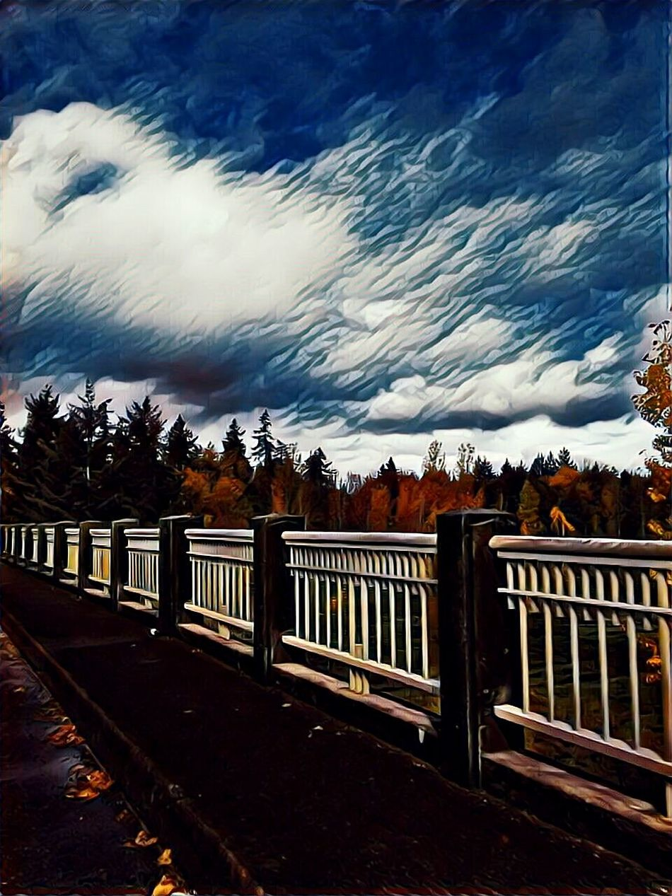 Railing Wood - Material Dramatic Sky Cold Temperature Outdoors Cloud - Sky No People Small Town America Fall Colors October Afternoon Essence Of Fall 3rd Street Growth Tranquility Atmosphere Vibrant Color Dramatic Sky EyeEm Photo Of The Day Multi Colored Beauty In Nature Outdoors Photograpghy  Illuminated The Week On EyeEem The Way Forward Willamette Valley
