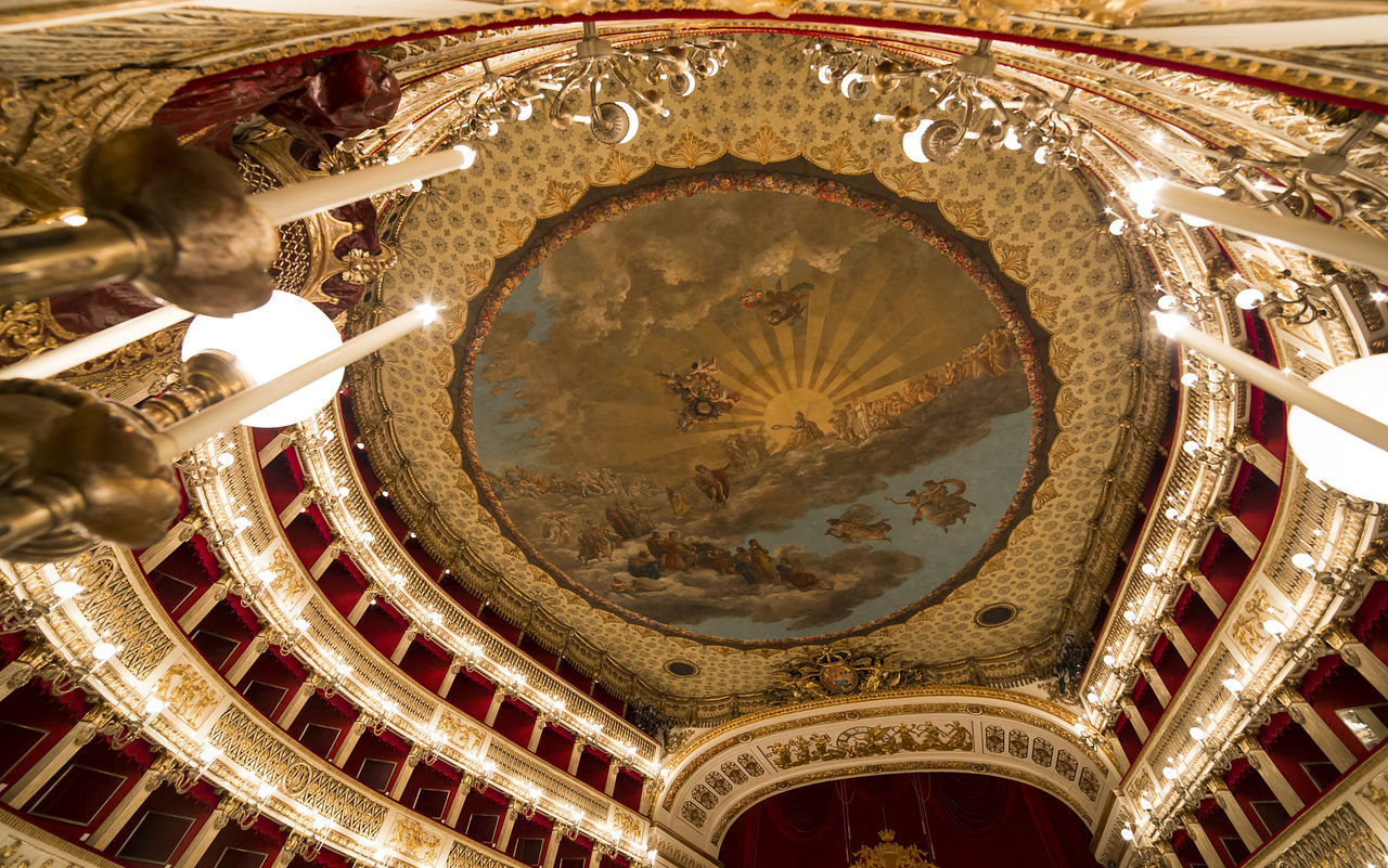 NAPLES, ITALY , MAY 16, 2014, Interiors and details of the Teatro di San Carlo, Naples opera house, built 1737, May 16, 2014, in Naples, Italy. Italy Music Naples, Italy Napoli Operahouse Opéra Teatro San Carlo Theatre