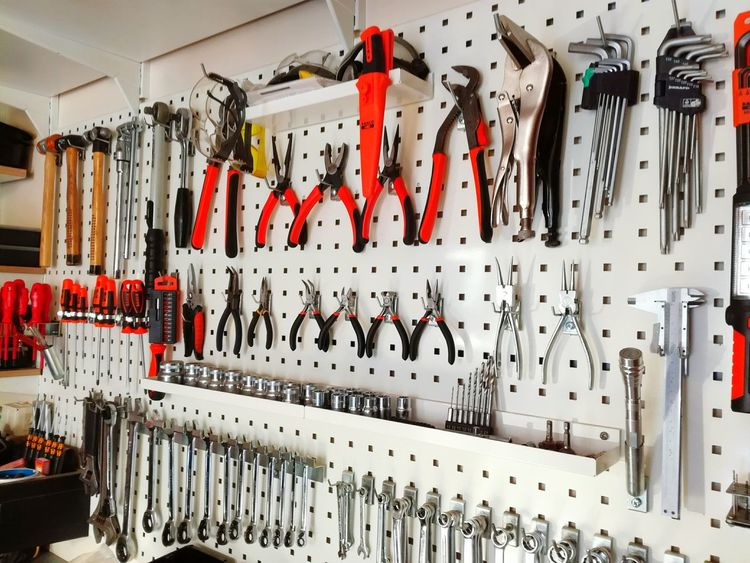 Work Tool Equipment Hanging Wrench  Group Of Objects No People Toolbox Workshop Technology Drill Lines Perfection Tool Shed In Order Hand Tool Hammer Screwdriver Wrench  Wall DIY Indoors