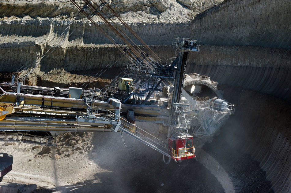 Russia, Staryy Oskol, mining centre, Stoilensky Mining and processing plant, bucket wheel excavator, Stripping Bucket Wheel Excavator Day Illuminated Mining Centre No People Russia россия Stoilensky Mining And Processing Plant Stripping The Land