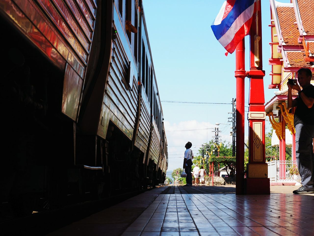 Thailand Train Station Train_of_our_world Thailand_allshots Man At Work Taking Photos Tourists Station Thailandtravel Traveling Travil Travel Photography Travel In Thailand Enjoying Life Clear Sky