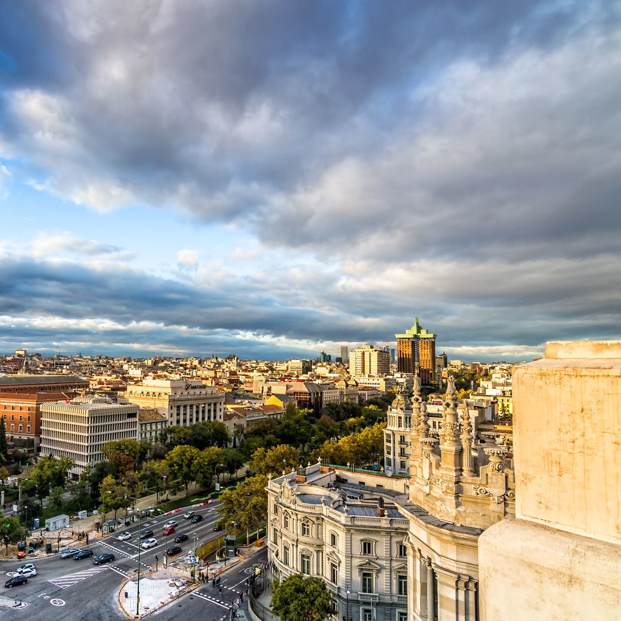 Madrid skyline from town hall at sunset Aerial View Architecture Building Exterior Capital Cities  Cibeles City City Life City Life Cityscape Cloud - Sky Downtown District European  Government High Angle View Madrid No People Outdoors Prado Roof SPAIN Street Sunset Travel Destinations Urban Urban Skyline