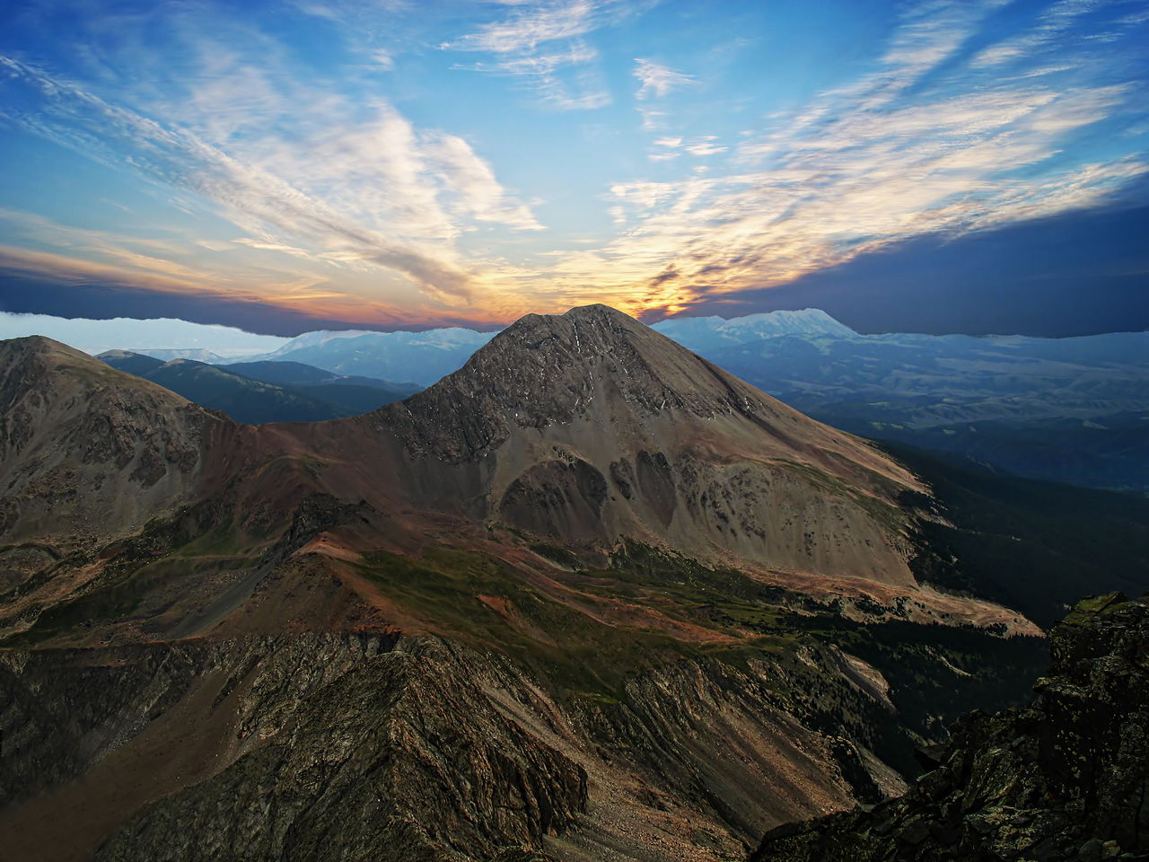 Sunset over Mount Lindsey in the Sangre de Cristo Range of southern Colorado Beauty In Nature Cloud - Sky Colorado Day Landscape Mount Lindsey Mountain Mountain Range Nature No People Outdoors Scenics Sky Sunset Tranquil Scene Tranquility Travel Destinations
