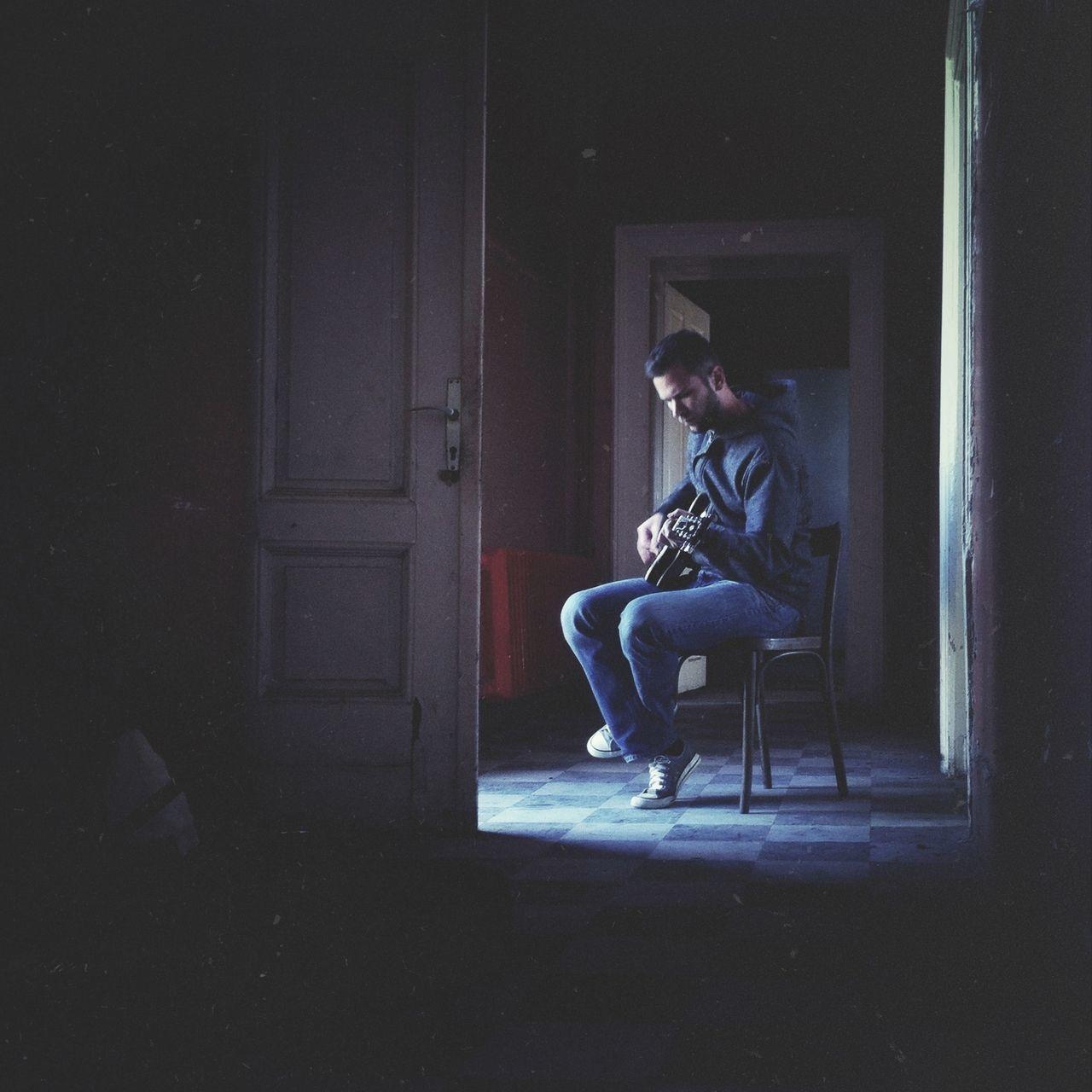Beautiful stock photos of guitar, Arts Culture and Entertainment, Chair, Dark, Full Length