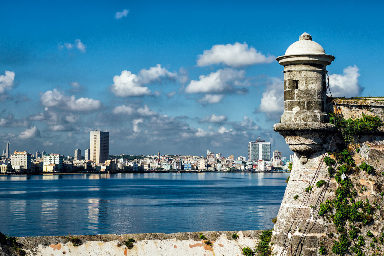 Architecture Building Exterior Built Structure City Cityscape Cloud - Sky Cuba Collection Day Fortress Malecon Nature No People Outdoors Scenics Sea Sky Sunlight Tower Travel Destinations Urban Skyline Water