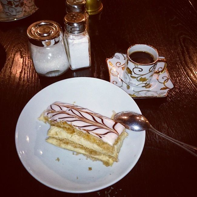 That Algerian moment you feel when you live abroad Kahwa Relaxing Turkish Black coffee millefeuille gâteau Irish call it cake