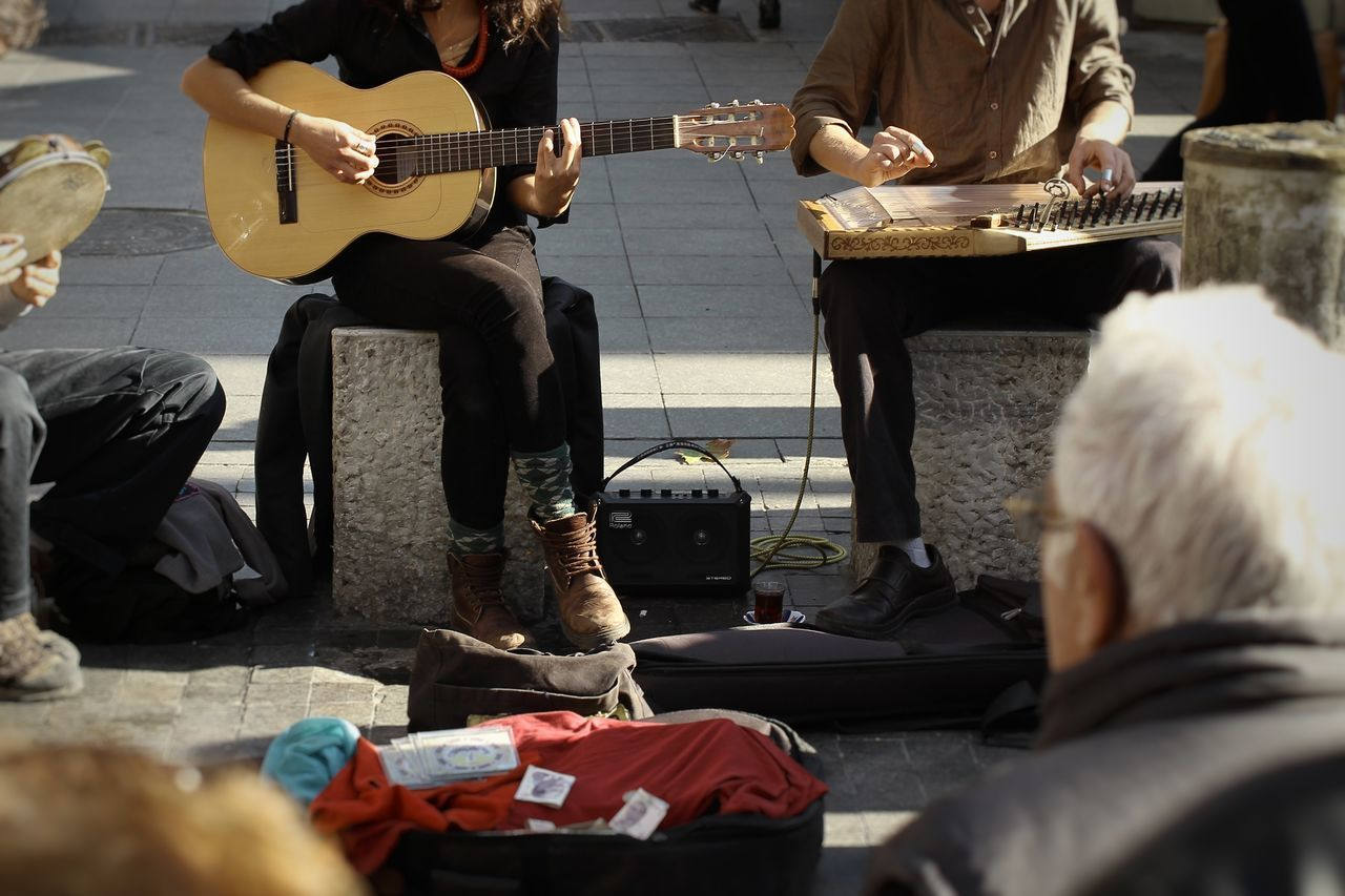Guitar Music Musical Instrument Performers Buskers Audience Outdoors Making Music Making A Living TakeoverMusic Istanbul