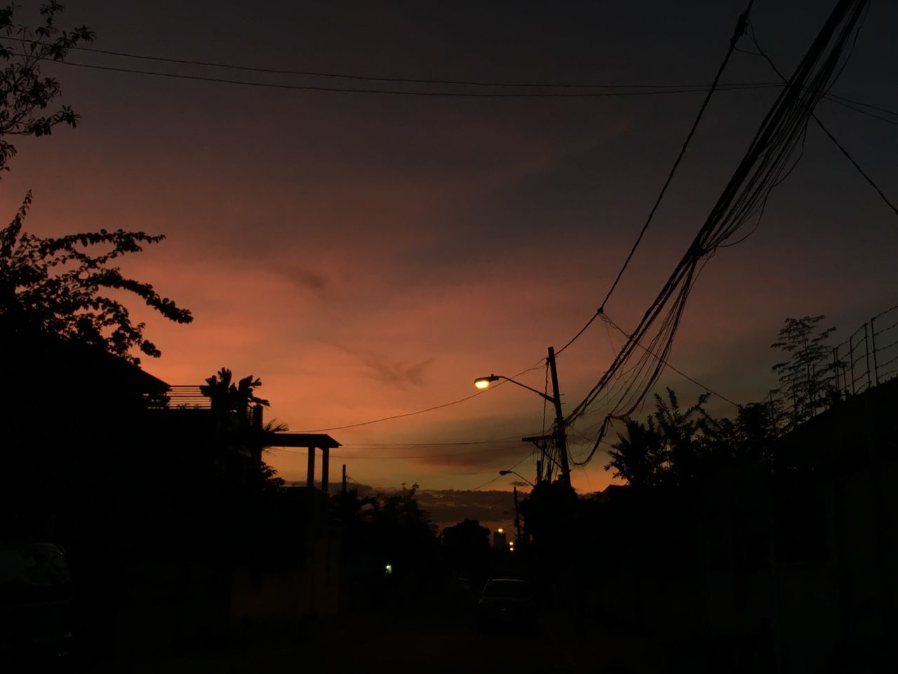 My Year My View Silhouette Sunset Sky Tree Power Line  Electricity  Dusk Cable Power Supply Built Structure No People Outdoors Building Exterior Dark Electricity Pylon Nature Architecture