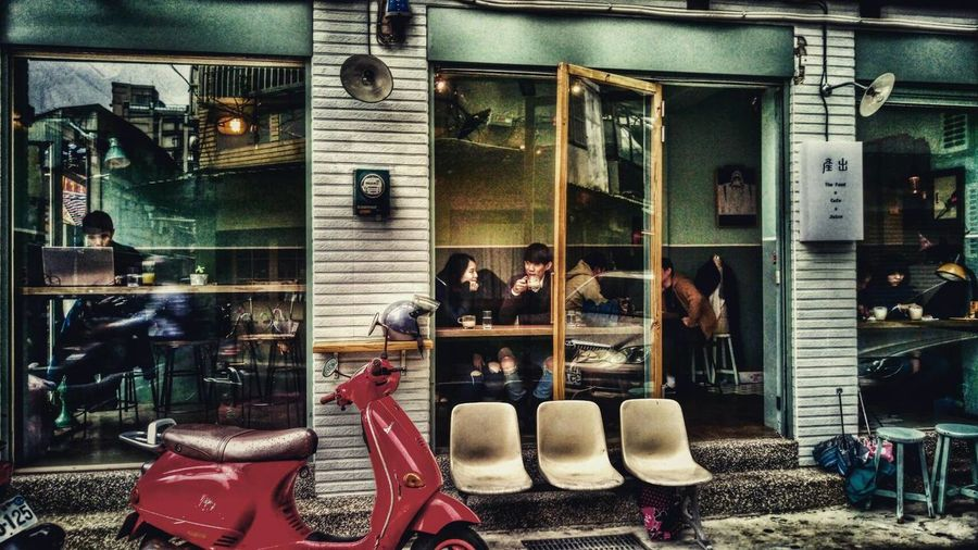 Streetphotography Take Photos Reflection Lightandsadow Peoplephotography People Of EyeEm Coffee Shop Nature Photography Chair Motorcycle