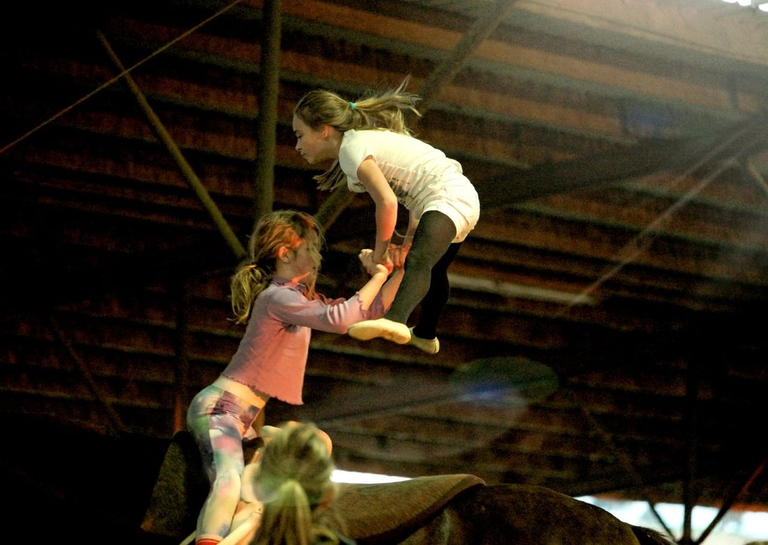 Finding New Frontiers Two People Child Strength Togetherness Day Childhood Real People Horsevaulting Horse Riding Gymnastics Teamwork