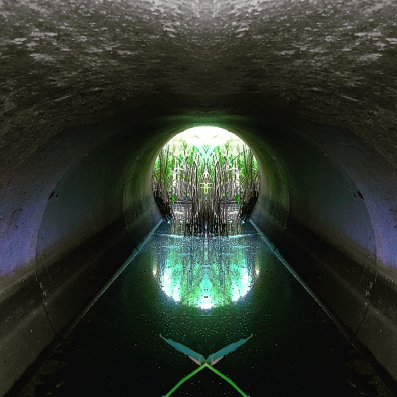 water, reflection, tunnel, architecture, built structure, illuminated, day, no people, indoors, under